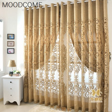 Modern Europe type hollow out curtain cloth Cut flowers jacquard fabrics purchasing process
