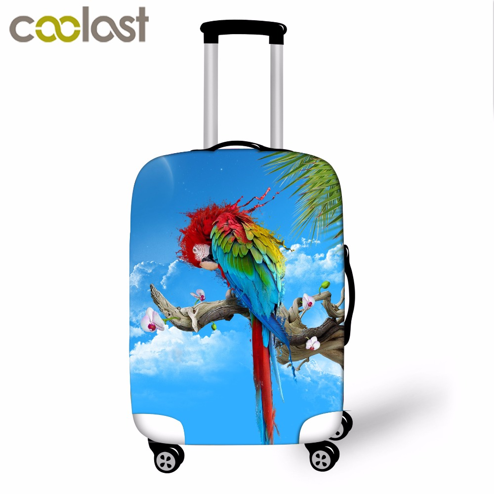 Fashion 3D Parrot Print Stretch Elastic Luggage Cover Made For S/m/l Apply To 18-32 Inch Cases Womens Stylish Travel Bag Covers