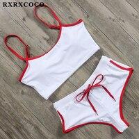 RXRXCOCO Sexy Sport Two Piece Swimsuits Women Swimwear Bikini Set Solid High Waist Swimsuit Female Summer Bathing Suits 2019