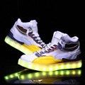Мужчины Загорается Светодиодный Светящиеся Обувь Высокие Светящиеся Повседневная USB зарядное устройство Свет Ботинок квартир для Мужчин Взрослых Неон Корзина Любовника обувь