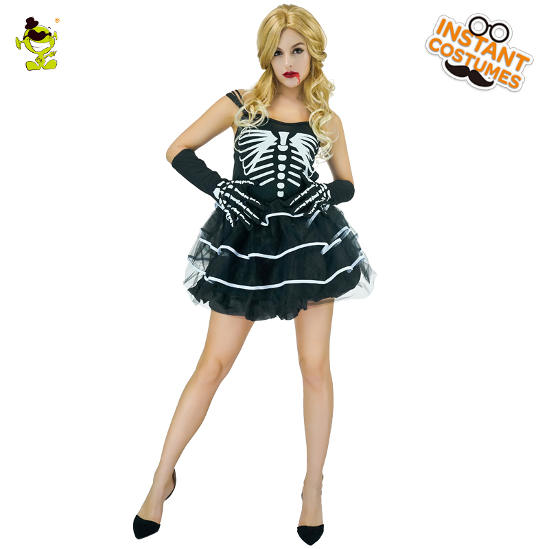 Women Sexy Skeleton Costumes Halloween Party Scary Skull Lady Cosplay Fancy Dress Adult Cool Skeleton Tutu Skirt for Dance Party