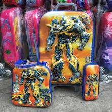 Promotion Children travel suitcase  16-inch  Transfomers boyS luggage sets  (lunch box + pen boxes+trolley luggage )