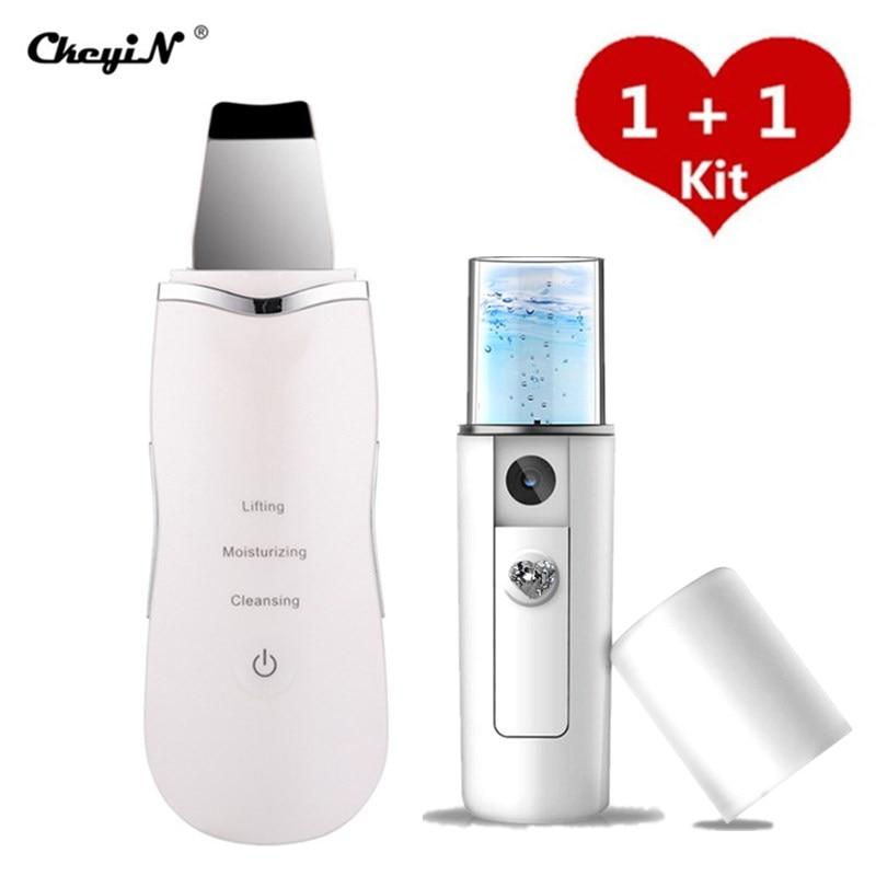 Ultrasonic Skin Scrubber Skin Peeling Extractor Facial Deep Cleaning Beauty Device + Skin Rejuvenation Nano Face Mist Steamer 40