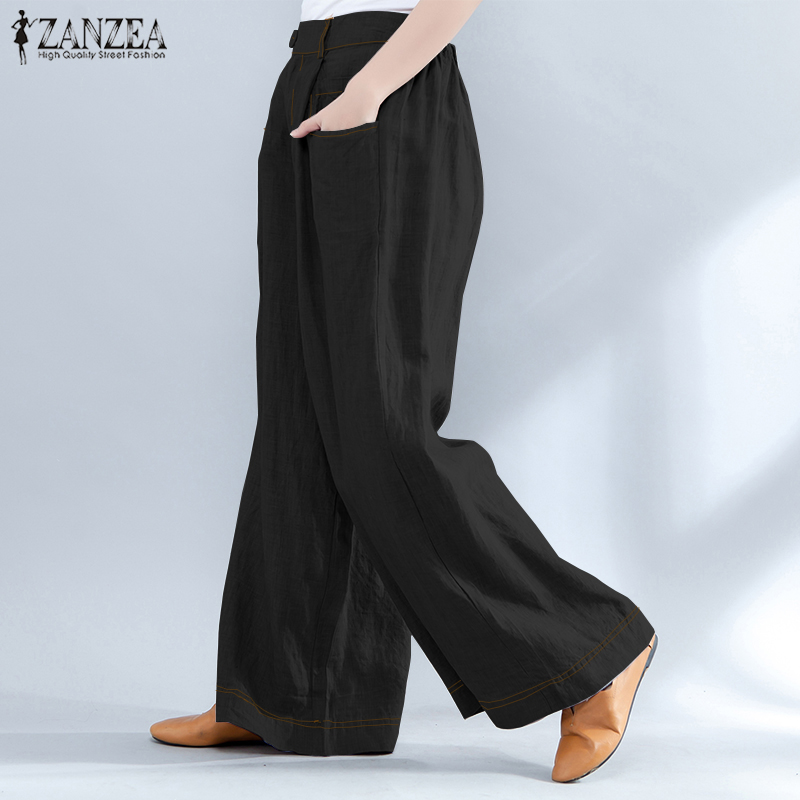 ZANZEEA Plus Size Women   Wide     Leg     Pants   Pantalon Femme Casual Loose Long Trousers Pockets Baggy High Waist Work   Pants   Streetwear