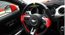 High quality all hand-sewed top layer leather (smooth+suede leather) 38cm steering wheel cover for 2015-2017 new Ford Mustang