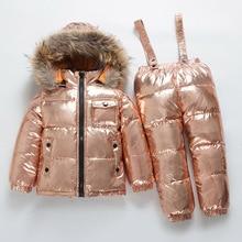 ロシア新冬子供のセットの少年少女ホワイトダックダウンスキースーツ厚い 30