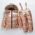 RUSLAND nieuwe winter Kinderkleding sets Jongens en meisjes witte eendendons skipak dikke-30