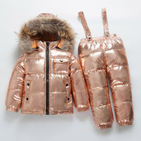 RUSSIA new winter Children's Clothing sets Boys and girls white duck down ski suit thick 30