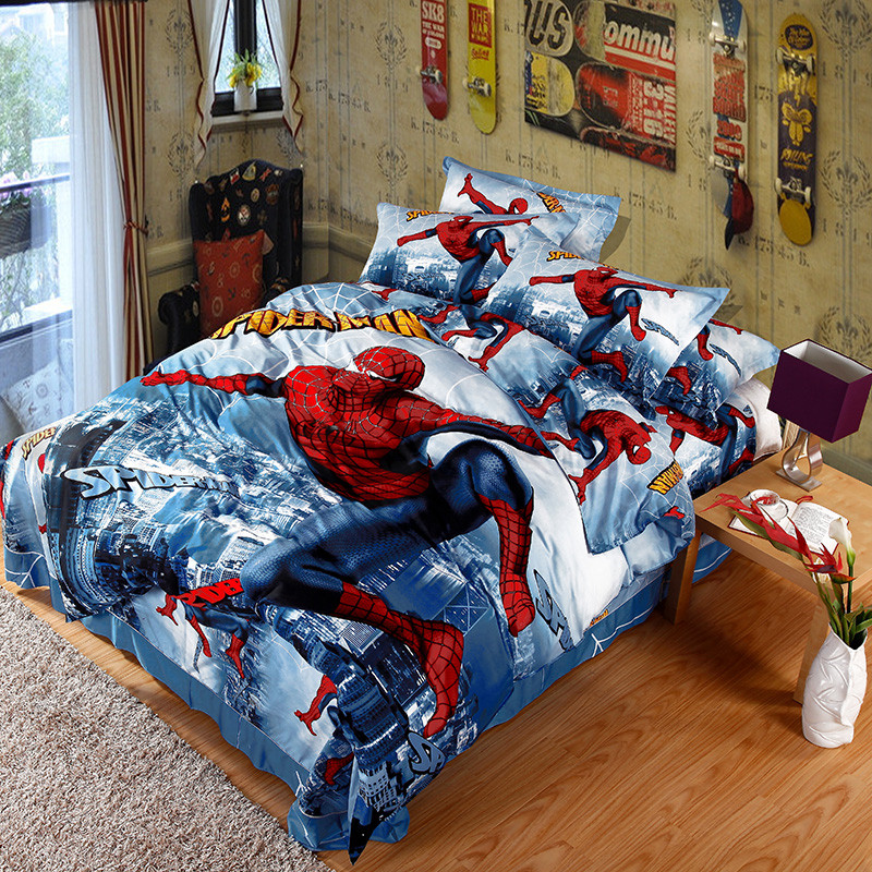 Unikea 2016 New 3d Printed Spiderman Kids Bedding Set For