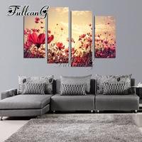FULLCANG 4pcs diy diamond painting poppy flower 5d mosaic cross stitch rhinestone embroidery full drill home decor gift G1255