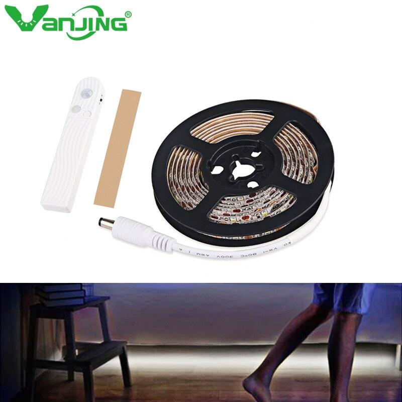 DC5V PIR Motion sensor LED Strip Light 2835 SMD 1m 2m 3m LED lamp Closet lamp Wardrobe Cabinet Stairs Gate Battery Power
