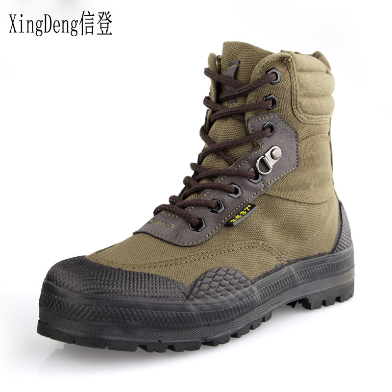 XingDeng New Men Fashion Army Desert Boots Men Military Tactical Lace Up Canvas Camouflage Rubber Boots Size 38-44