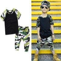 Estate nuovi ragazzi manica corta camouflage magliette pantaloni 2 pz set top quality abbigliamento casual per bambini bambini sport usura 17A801
