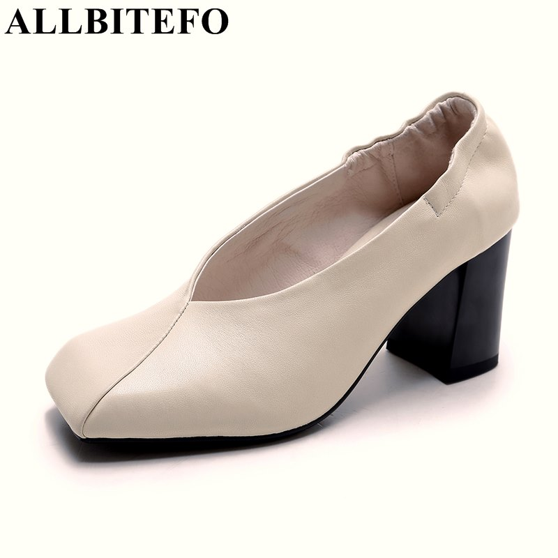 ALLBITEFO square toe full genuine leather thick heel women pumps fashion sexy high heels office ladies shoes spring pumps  allbitefo fashion sexy thin heels pointed toe women pumps full genuine leather platform office ladies shoes high heel shoes