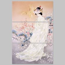 Große größe 3 stücke japan stil kimono lady bild dekoration japanischen plum blumen leinwand malerei wandkunst home decor unframed