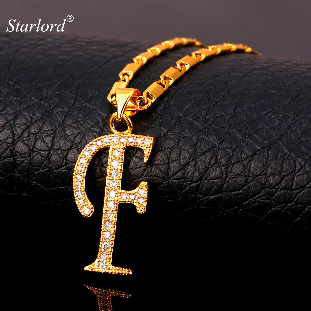 Us 6 9 40 Off Starlord Initial F Letter Pendants Necklaces Women Men Personalized Gift Alphabet Jewelry Gold Color Necklace P1676 In Pendant