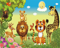 Beibehang Large Aesthetic Personality Fashion Wallpaper Vector Jungle Animals Kids Room Backdrop Wall Wallpaper For Walls