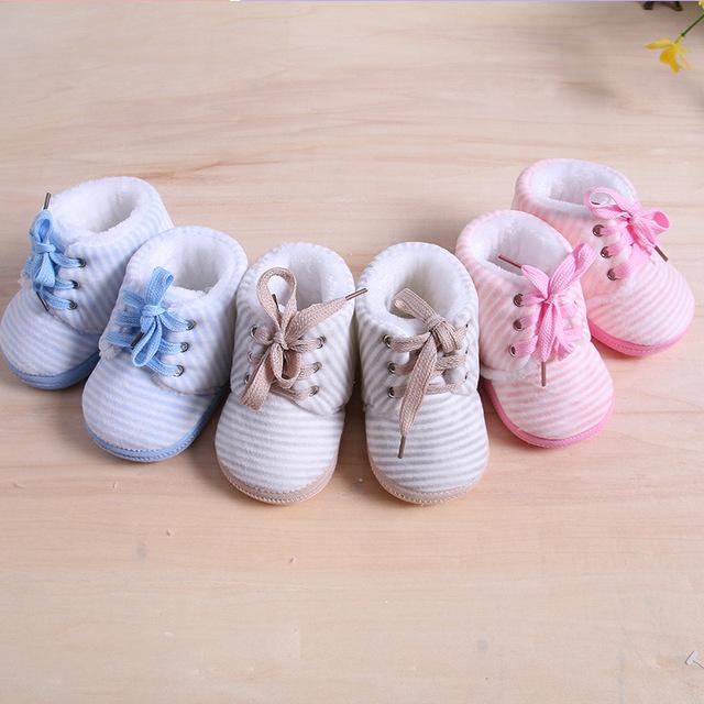 Outono inverno stripe cotto bebê shoes para o menino menina botas Newborn Infant Toddler Mocassins Chinelo Casa de Ano Novo Do Bebê Walker D8