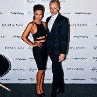 New High Quality HL Black 2 Piece Knee Length Bandage Dress Celebrity Evening Party Dress