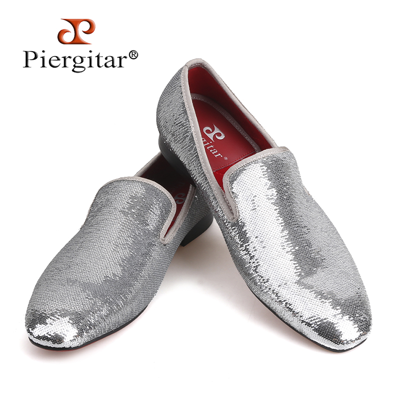 PIERGITAR brand 2018 luxurious sequins mens loafers wedding and prom two colors men handmade smoking slippers plus size shoesPIERGITAR brand 2018 luxurious sequins mens loafers wedding and prom two colors men handmade smoking slippers plus size shoes