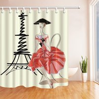 Character Landscape Shower Curtain Eiffels Tower Beautiful Lady With Red Dress High Heels Black Hat Bathroom Decor
