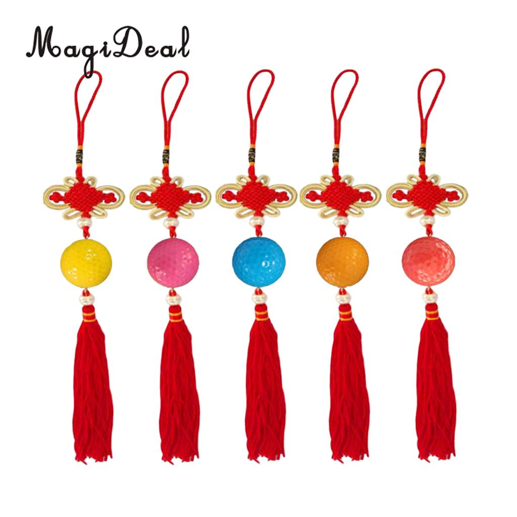 MagiDeal Delicate 1Pc Chinese Knot With Golf Ball Home Hanging Car Living Room Golf Aid Trainning Decoration Gifts Random Color