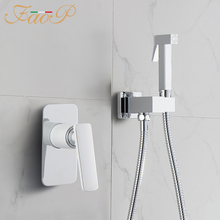FAOP bidet faucets Brass hand shower Bathroom bidets faucet Chrome toilet mixer anal cleaning muslim
