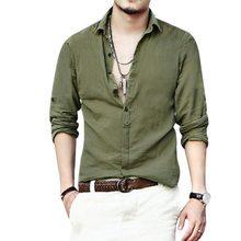 8e681f2916 Laamei Degli Uomini a maniche lunghe Camicette di Lino Maschio Risvolto da  Uomo Streetwear Casual Lavabile Camicia Degli Uomini .