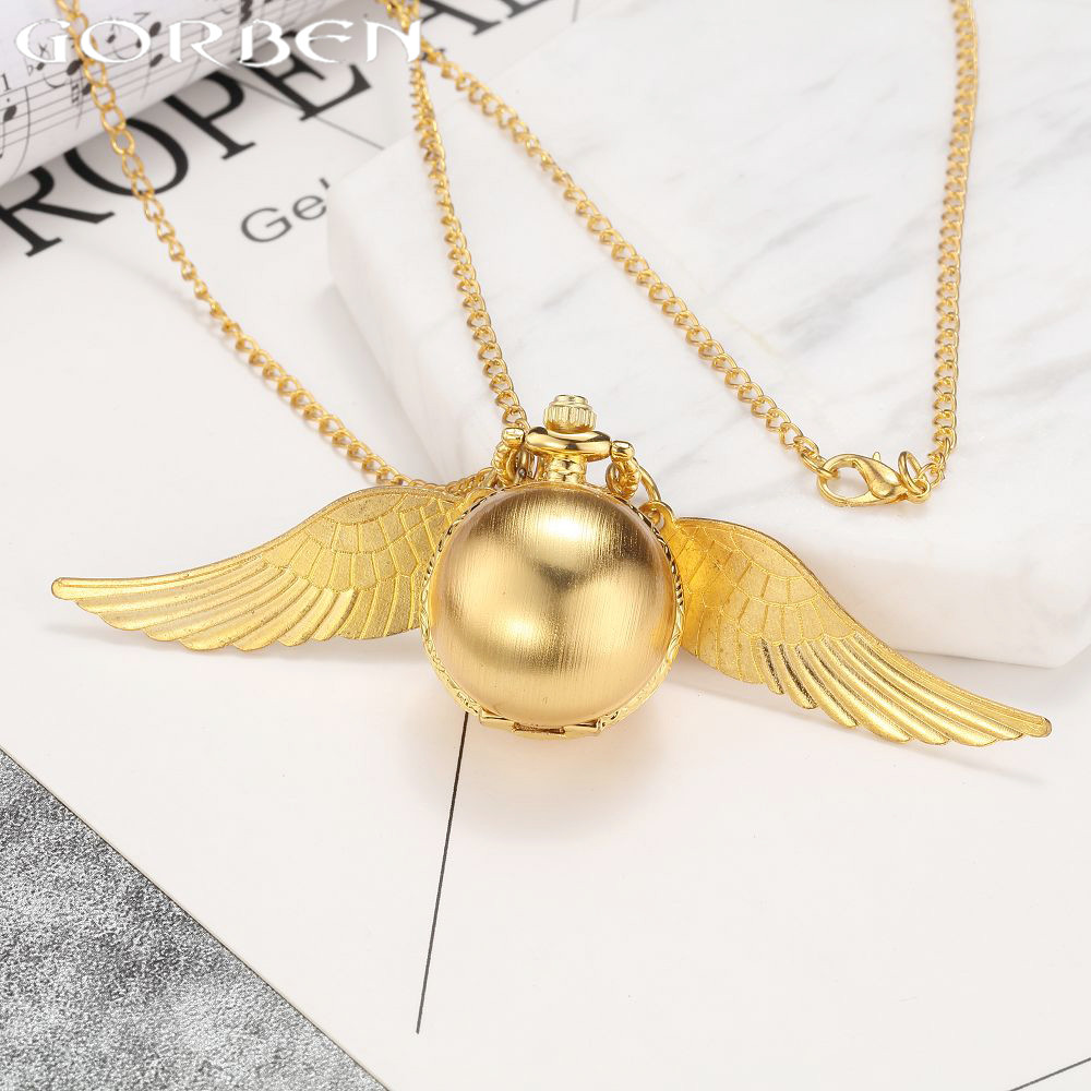 2017 Luxury Golden Pocket Watch New Arrival Elegant Smooth Surface Spherical Small Quartz Watch With Golden Wings Fine Chain