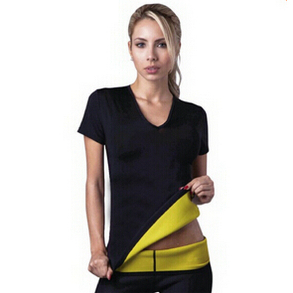 ( T-shirt + Pants) Hot Body Shapers T-shirt Control Vest Tops + Stretch Neoprene Slimming Vest Body Shaper Pants