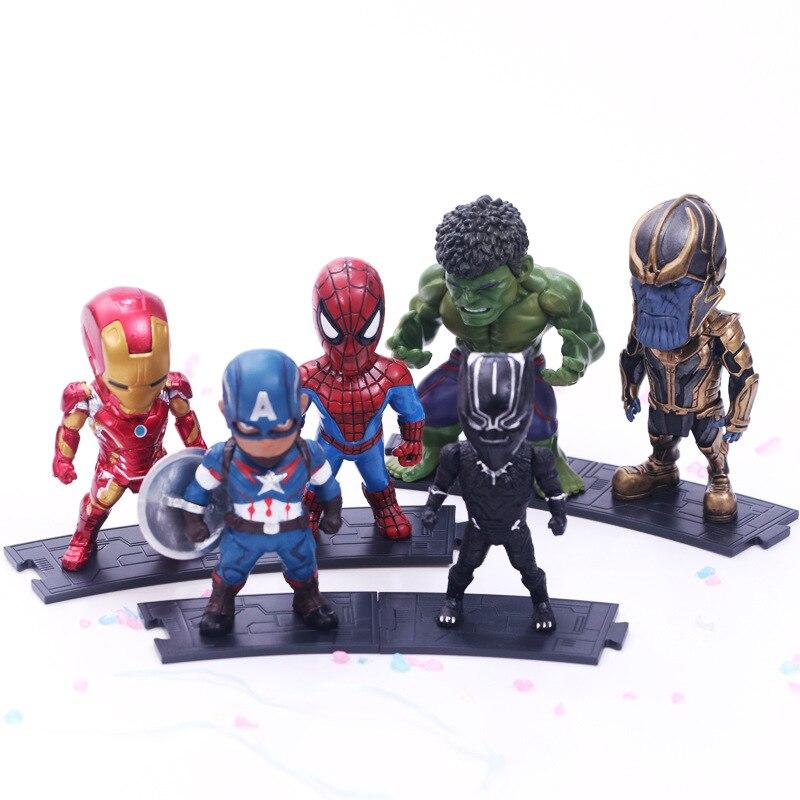 6pcs/set Avenger League 3 Iron Man Spiderman Destroyed Hegemony Giant Black Panther Captain Action Figure Marvel Legends Figure contesting hegemony