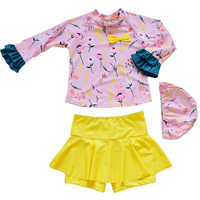 Kinder Bademode für mädchen 3 teile/satz Langarmshirts + Rock + Badekappe Floral Gedruckt Feste Kinder Beachwear bade Sutis