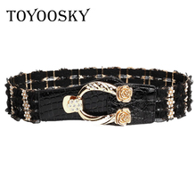 TOYOOSKY Elastic Lace Belt for Women Brand Designer Women Belts European Style Stretch Wide Waist Belt for Dresses Floral Buckle 1pc air stapler 2 in 1 combination sf5040a pneumatic air nailer gun 2pcs pistons for pneumatic stapler nail gun woodworking tool