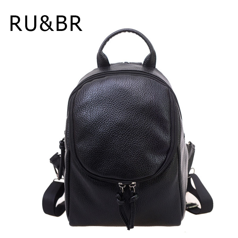 RU&BR New College Wind Woman Backpack Female Korean School Bag Fashion Leisure Travel Bag  PU Leather Solid Color Backpacks Bout 2016 new winter fashion leisure bag lady korean pu leather rivet travel backpack zipper preppy school bag plaid pattern mini bag
