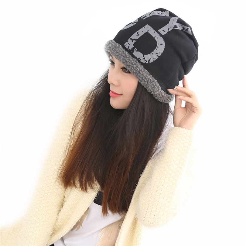 Women Autumn Skullies Letters Printing Winter Hats For Female Woollen Velvet Cap Casual Hat Wool Bonnet Gorro Beanies Solid M084 skullies