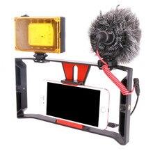 Smartphone וידאו Rig Smartphone קולנוע הקלטת Vlogging סרטי טלפון סלולרי הר מייצב עבור iPhone Xs XR X 8 7 בתוספת