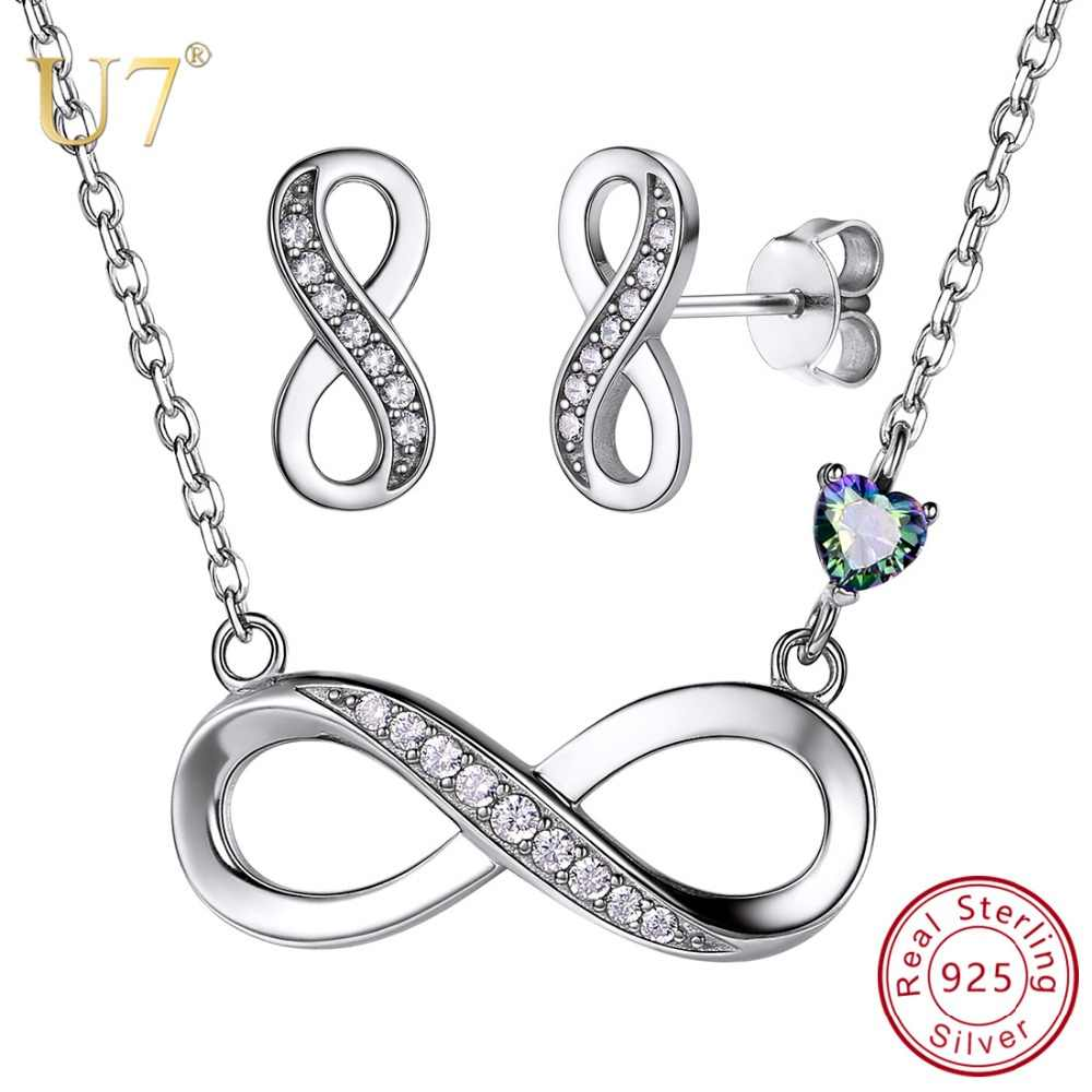 U7 925 Sterling Silver Infinity Necklaces Stud Earrings Sets For Women Girls Wedding Bridesmaid Statement Jewelry Sets  SC241