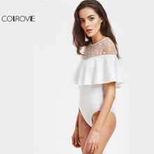 COLROVIE Ruffle Mesh Bodysuit
