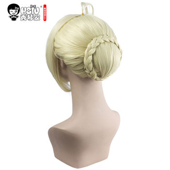 HSIU NEW High quality Saber Arturia Pendragon Cosplay Wig of Fate Costume Play Wigs Halloween Costumes Hair free shipping