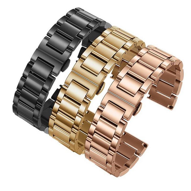 16mm 18mm 20mm 22mm 24mm Metall Edelstahl Solide Uhr Band Strap Armband Armband Armband Schmetterling Verschlüsse Rose Gold
