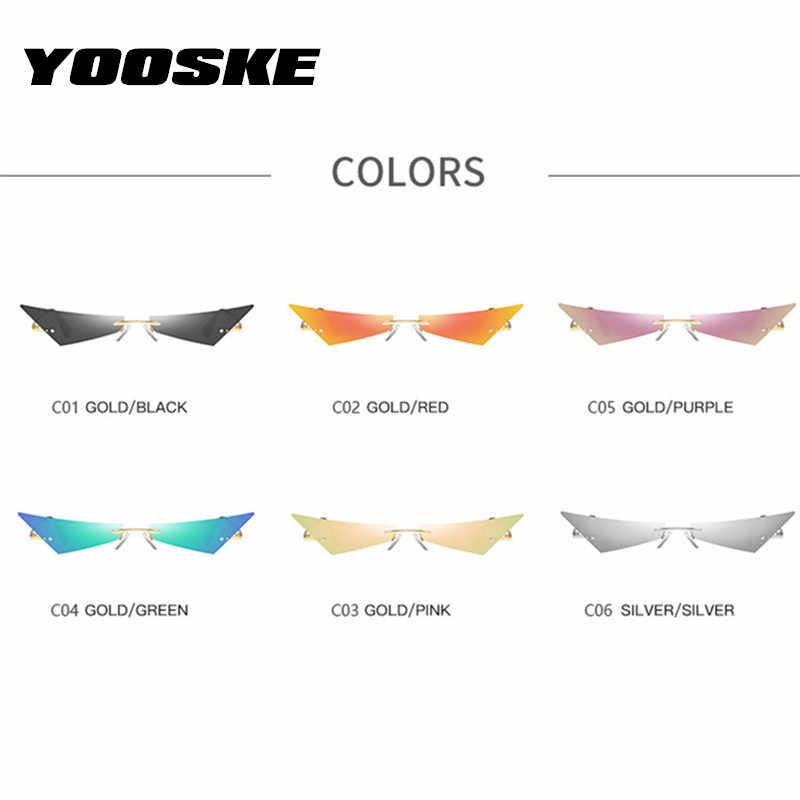 YOOSKE petit oeil de chat lunettes de soleil femmes étroites sans monture lunettes de soleil pour hommes rétro marque concepteur miroir lunettes