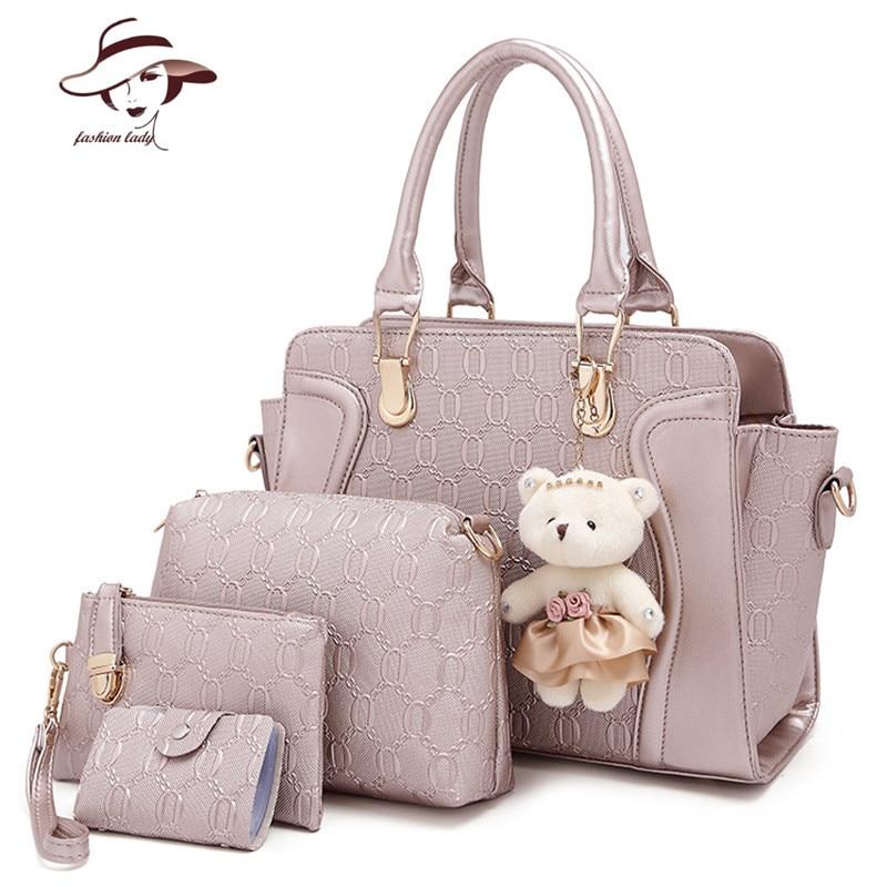 4 PCS Set Women Bag Crocodile Pattern Composite Bag Vintage Women Messenger  Bags Shoulder Handbag bcc7745edb