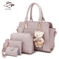 4 PCS/Set Women Bag Crocodile Pattern Composite Bag Vintage Women Messenger Bags Shoulder Handbag Purse Wallet Leather Handbags