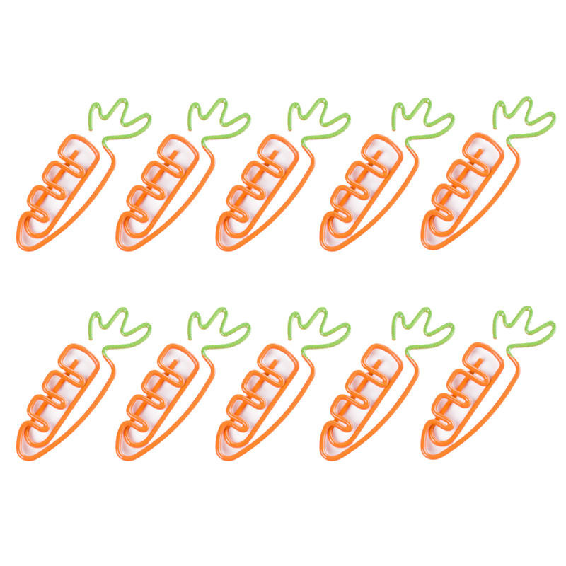 10 Pcs/Lot Creative Kawaii Carrot Shaped Metal Paper Clip Bookmark Stationery School Office Supply