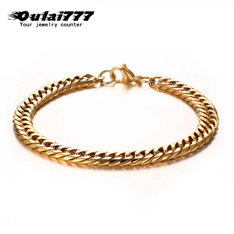 oulai777 men bracelet stainless steel male cuban link chains on hand men gold minimalist bracelet men\x27s fashion jewelry 2019
