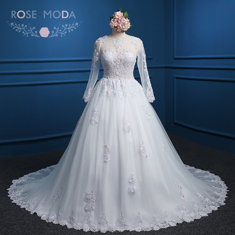 Rose Moda Long Sleeves Ball Gown Pearl Beaded High Neck