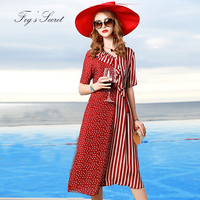 2019 Women Dress Real silk Irregular Style Red Classic Striped with Dot Print Sashes with V neck Dress vestidos casuais