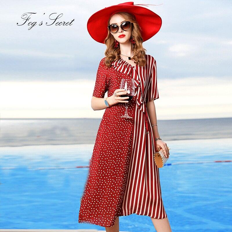 2019 femmes robe en soie véritable Style irrégulier rouge classique rayé avec des ceintures d'impression de point avec col en V robe vestidos occasionnel