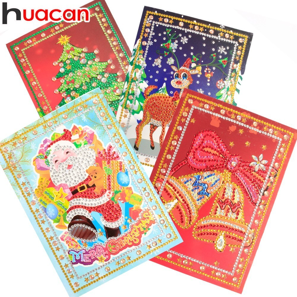 HUACAN Diamond Painting Christmas Greeting Cards Diamond Mosaic Cartoon Mini Santa Claus Merry Christmas Paper Cards Craft GiftHUACAN Diamond Painting Christmas Greeting Cards Diamond Mosaic Cartoon Mini Santa Claus Merry Christmas Paper Cards Craft Gift