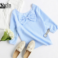 SheIn Womens Blouses For Summer Ladies 2016 Blue Striped Round Neck Three Quarter Length Sleeve Bow